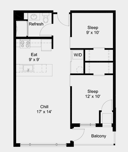 The Outfield apartment: 2 bed, 1 bath, 745 square feet option 2