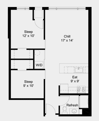 The Outfield apartment: 2 bed, 1 bath, 745 square feet option 5